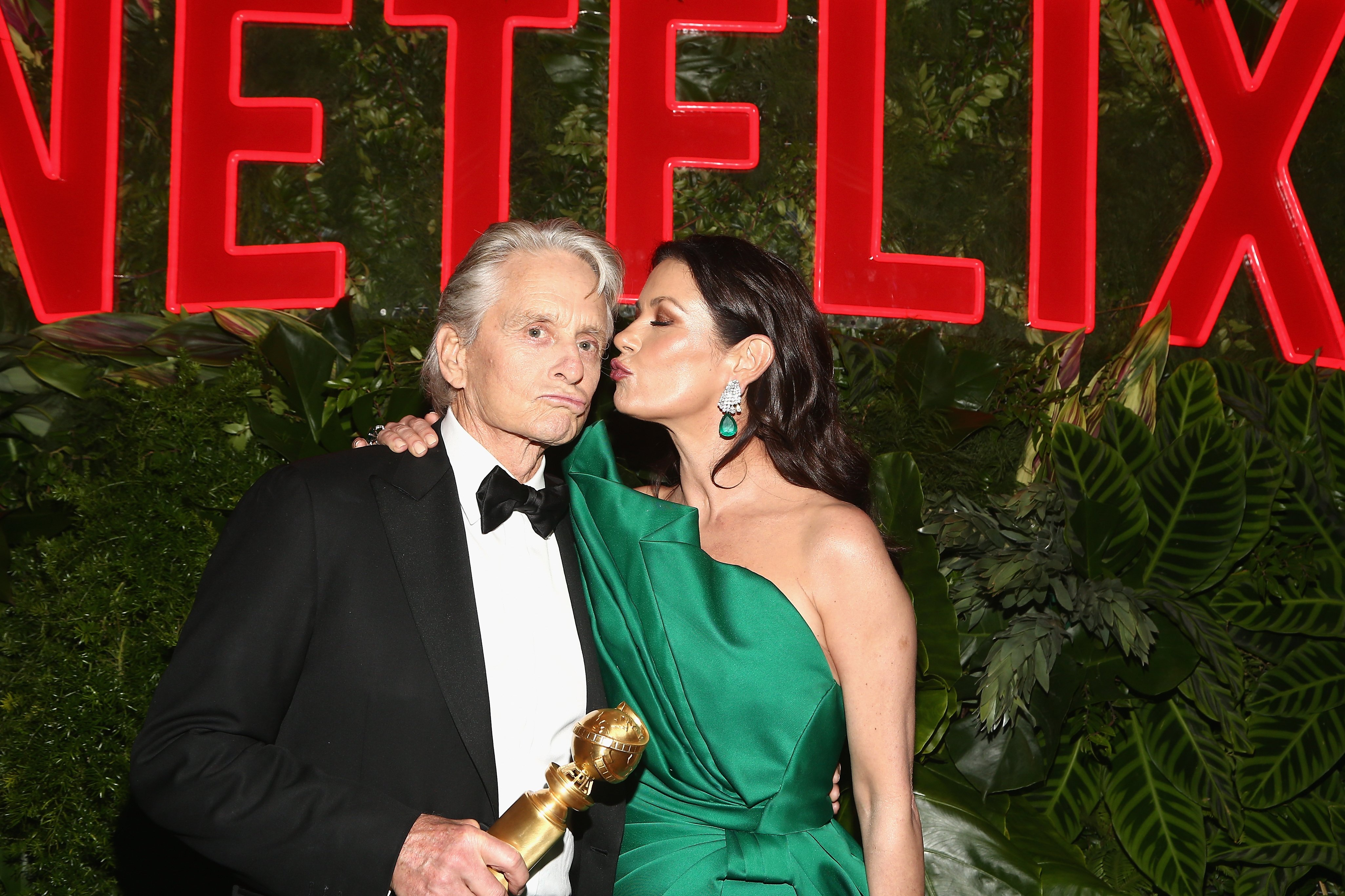 Image Credits: Getty Images / Tommaso Boddi | Michael Douglas (L) and Catherine Zeta-Jones attend the Netflix 2019 Golden Globes After Party on January 6, 2019 in Los Angeles, California.