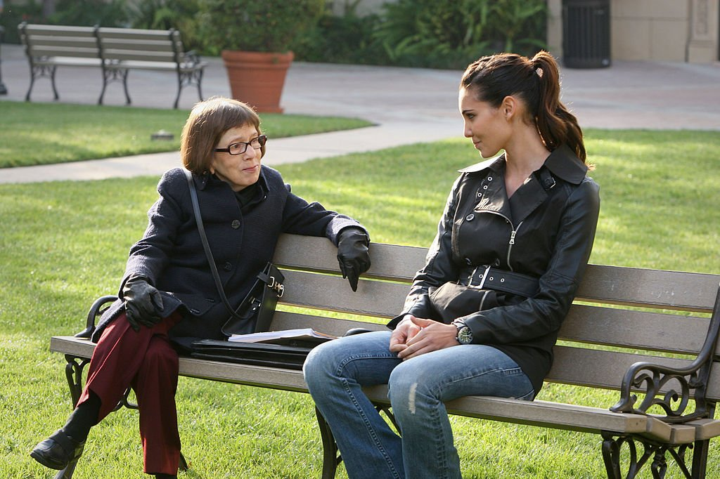 Image Credit: Getty Images / Actress and Oscar winner, Linda Hunt and her co-star on set for NCIS:LA.