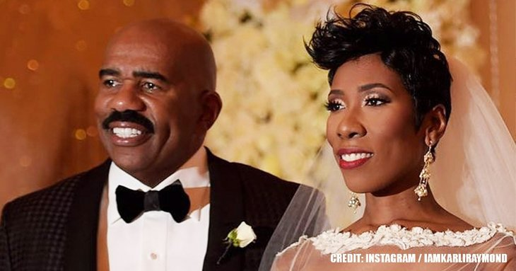 Steve Harvey's daughter shares throwback wedding photo with her mom in pink long gown