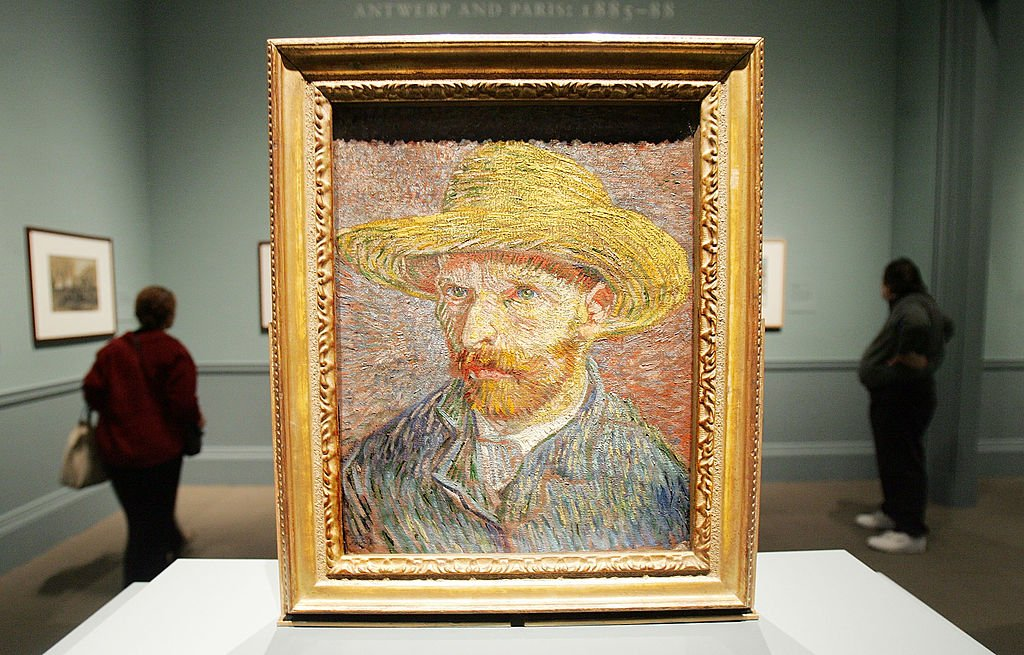 "Image Credits: Getty Images /  Mario Tama | Vincent Van Gogh's painting ""Self Portrait with a Straw Hat"""