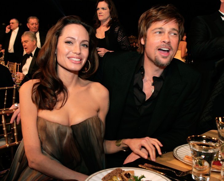 Image Source: Getty Images/Kevin Winter | Brad and Angelina at the 14th Annual SAG Awards