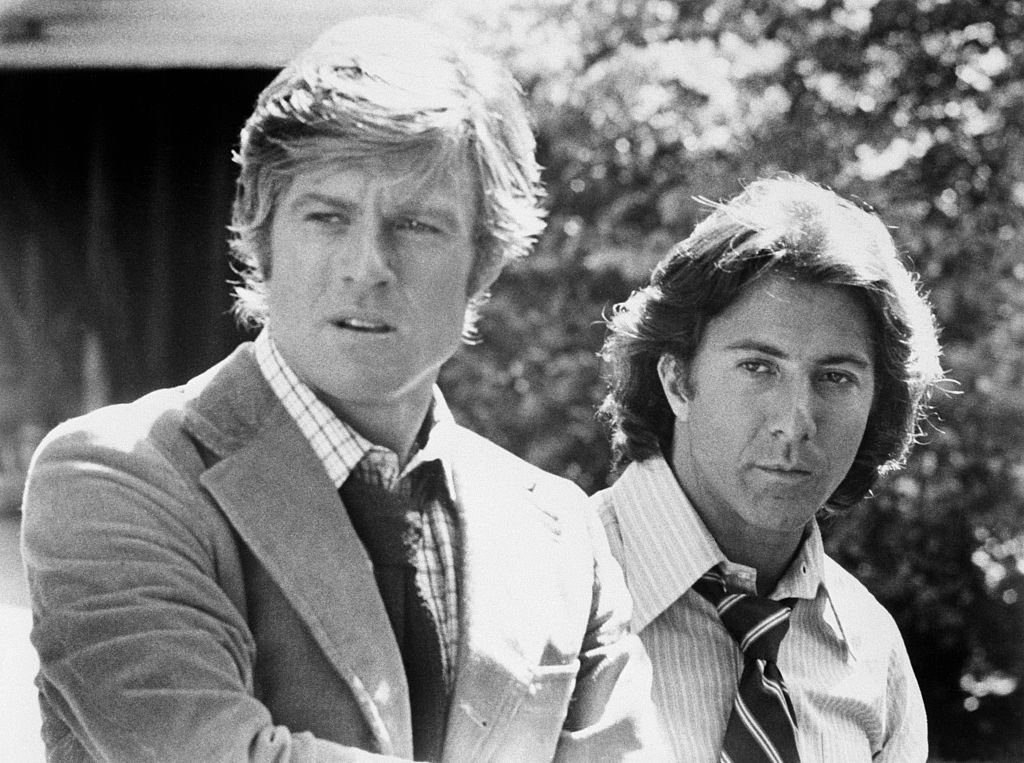 Image Credits: Getty Images / Bettmann | Robert Redford and Dustin Hoffman as Woodward and Bernstein, the reporters who broke the Watergate scandal, in All the President's Men.