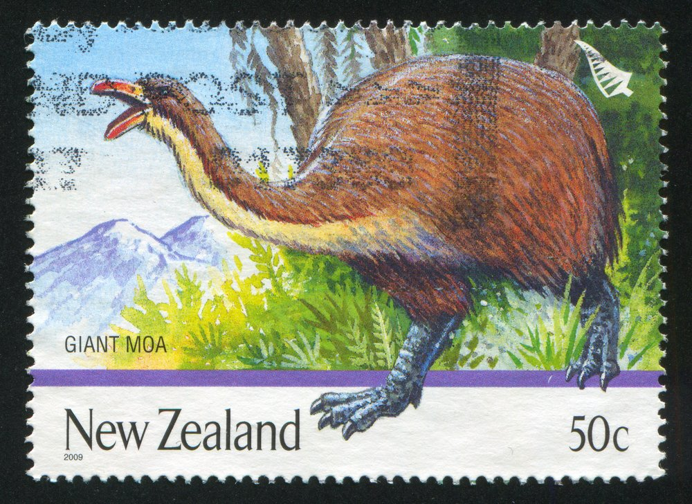 A stamp printed by New Zealand, shows Extinct Birds, Giant moa, circa 1996 | Shutterstock