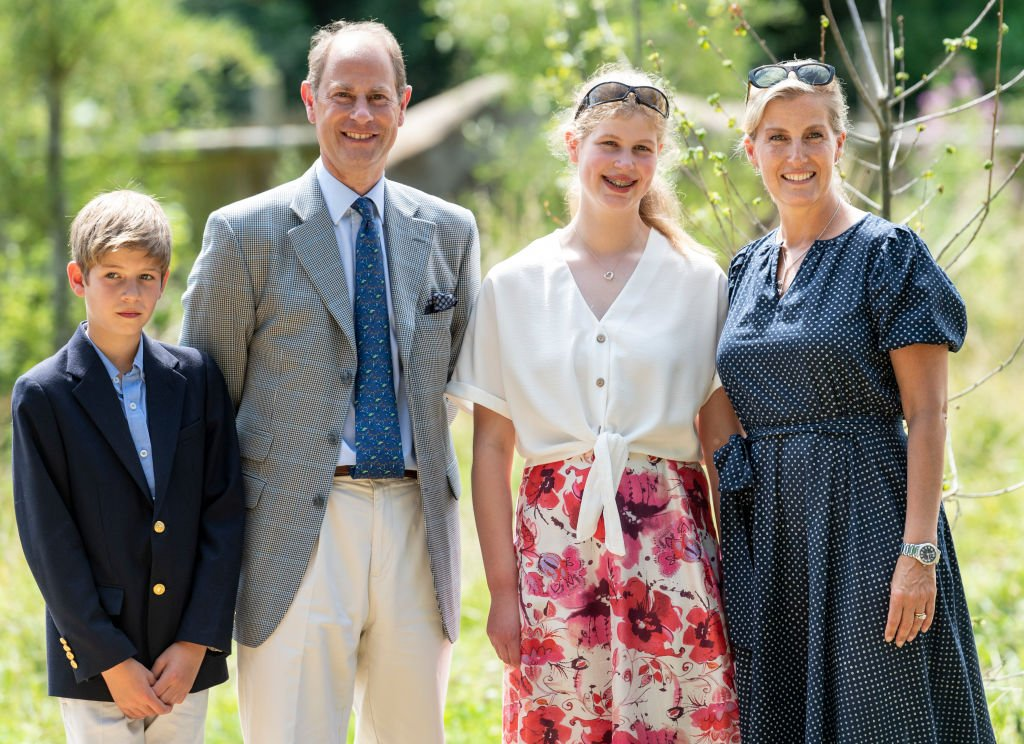 Prince Edward, Earl of Wessex and Sophie, Countess of Wessex with James Viscount Severn and Lady Louise Windsor during a visit to The Wild Place Project at Bristol Zoo on July 23, 2019 in Bristol, England.