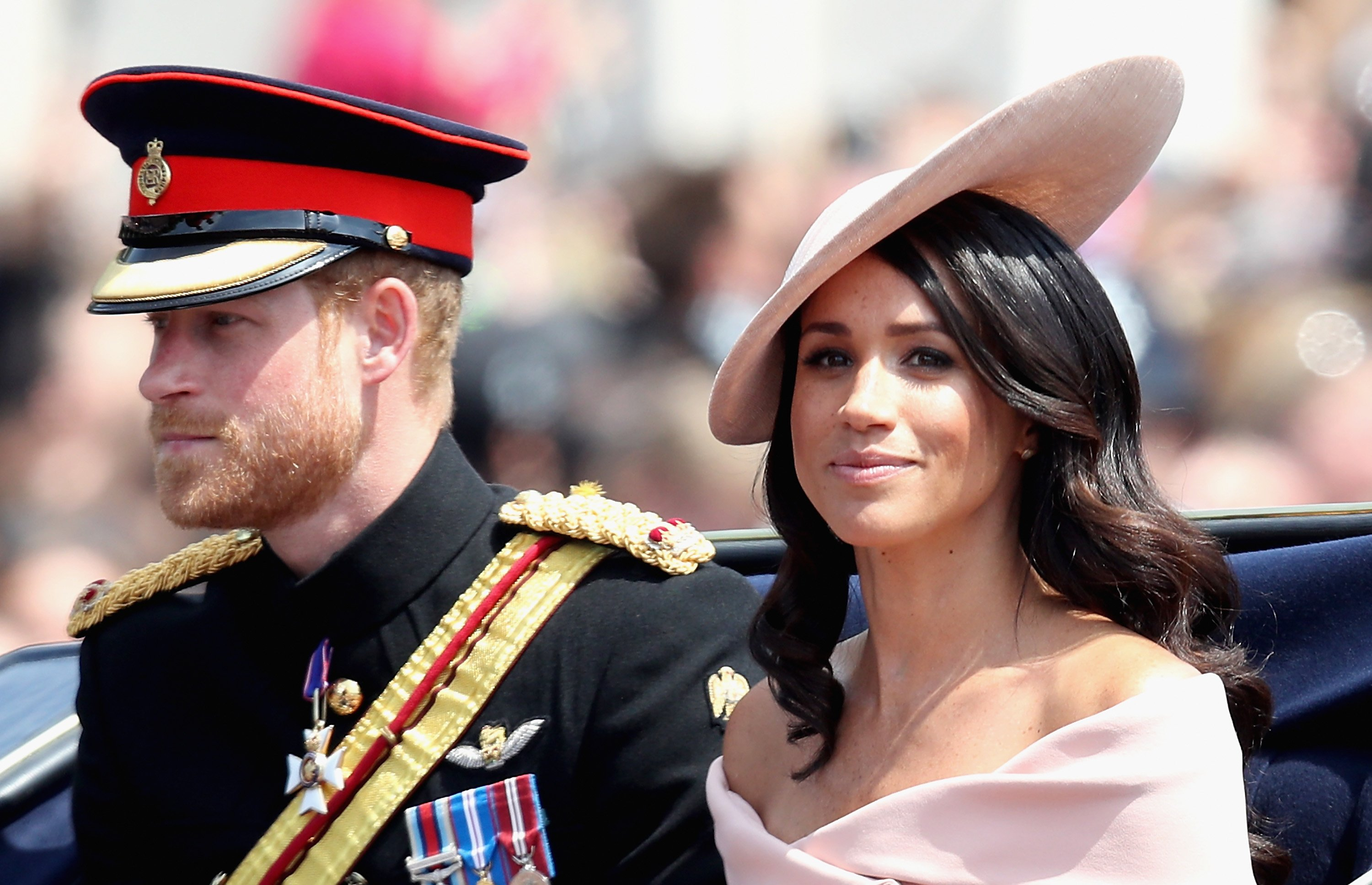 Image Credits: Getty Images / Chris Jackson    Meghan, Duchess of Sussex and Prince Harry, Duke of Sussex during Trooping The Colour on the Mall on June 9, 2018 in London, England. The annual ceremony involving over 1400 guardsmen and cavalry, is believed to have first been performed during the reign of King Charles II. The parade marks the official birthday of the Sovereign, even though the Queen's actual birthday is on April 21st.