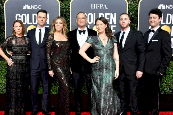 Image Credits: Getty Images / Frazer Harrison | Samantha Bryant, Colin Hanks, Rita Wilson, Tom Hanks, Elizabeth Ann Hanks, Chet Hanks, and Truman Theodore Hanks attend the 77th Annual Golden Globe Awards at The Beverly Hilton Hotel on January 05, 2020 in Beverly Hills, California.