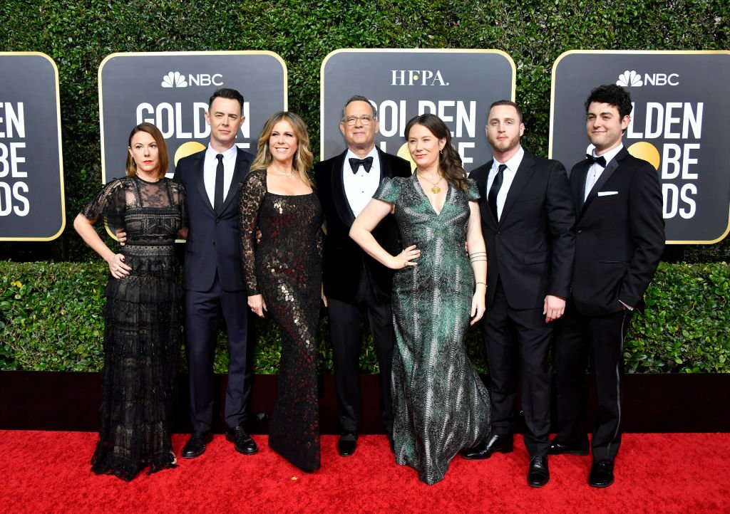 Image Credits: Getty Images / Frazer Harrison | (L-R) Samantha Bryant, Colin Hanks, Rita Wilson, Tom Hanks, Elizabeth Ann Hanks, Chet Hanks, and Truman Theodore Hanks attend the 77th Annual Golden Globe Awards at The Beverly Hilton Hotel on January 05, 2020 in Beverly Hills, California.
