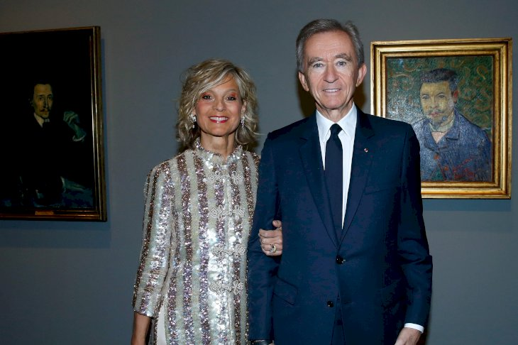 "Image Credits: Getty Images / Bertrand Rindoff Petroff | Bernard Arnault and his wife Helene Arnault attend the ""Icones de l'Art Moderne, La Collection Chtchoukine""."