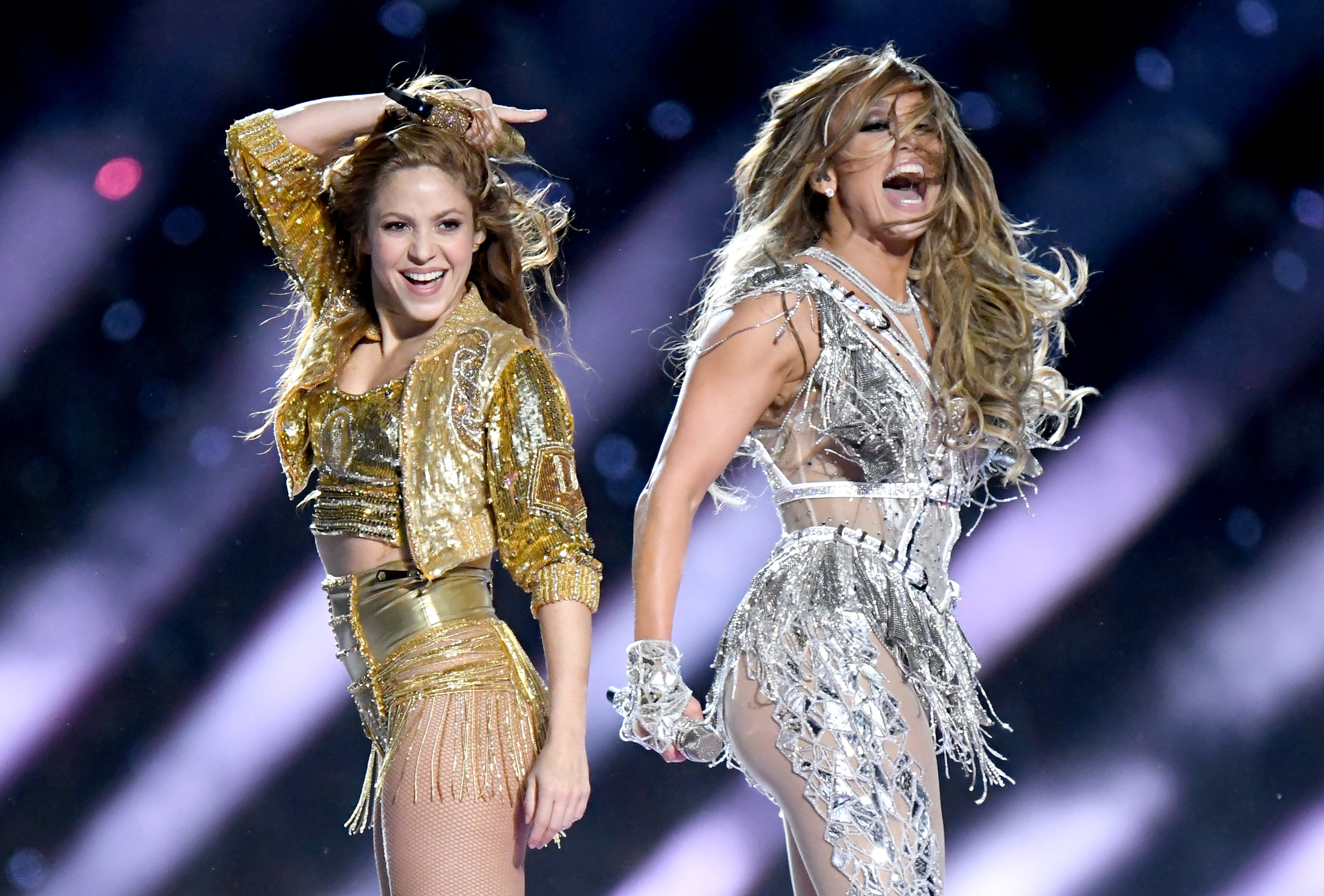 Image Credit: Getty Images / Shakira and Jennifer Lopez performing at the Super Bowl LIV Halftime Show.