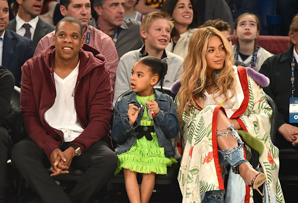 Image Credit: Getty Images / Jay Z, Blue Ivy Carter, Beyoncé Knowles attend the 66th NBA All-Star Game at Smoothie King Center on February 19, 2017.