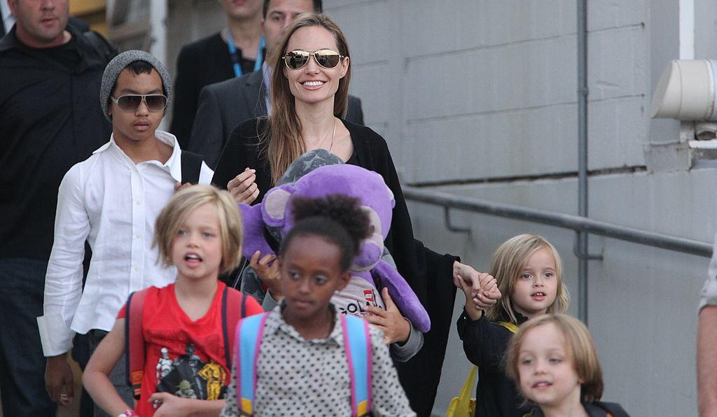 Image Source: Getty Images/Fairfax Media/US actress Angelina Jolie arrives at Sydney Airport with her children, on September 6, 2013 in Sydney, Australia
