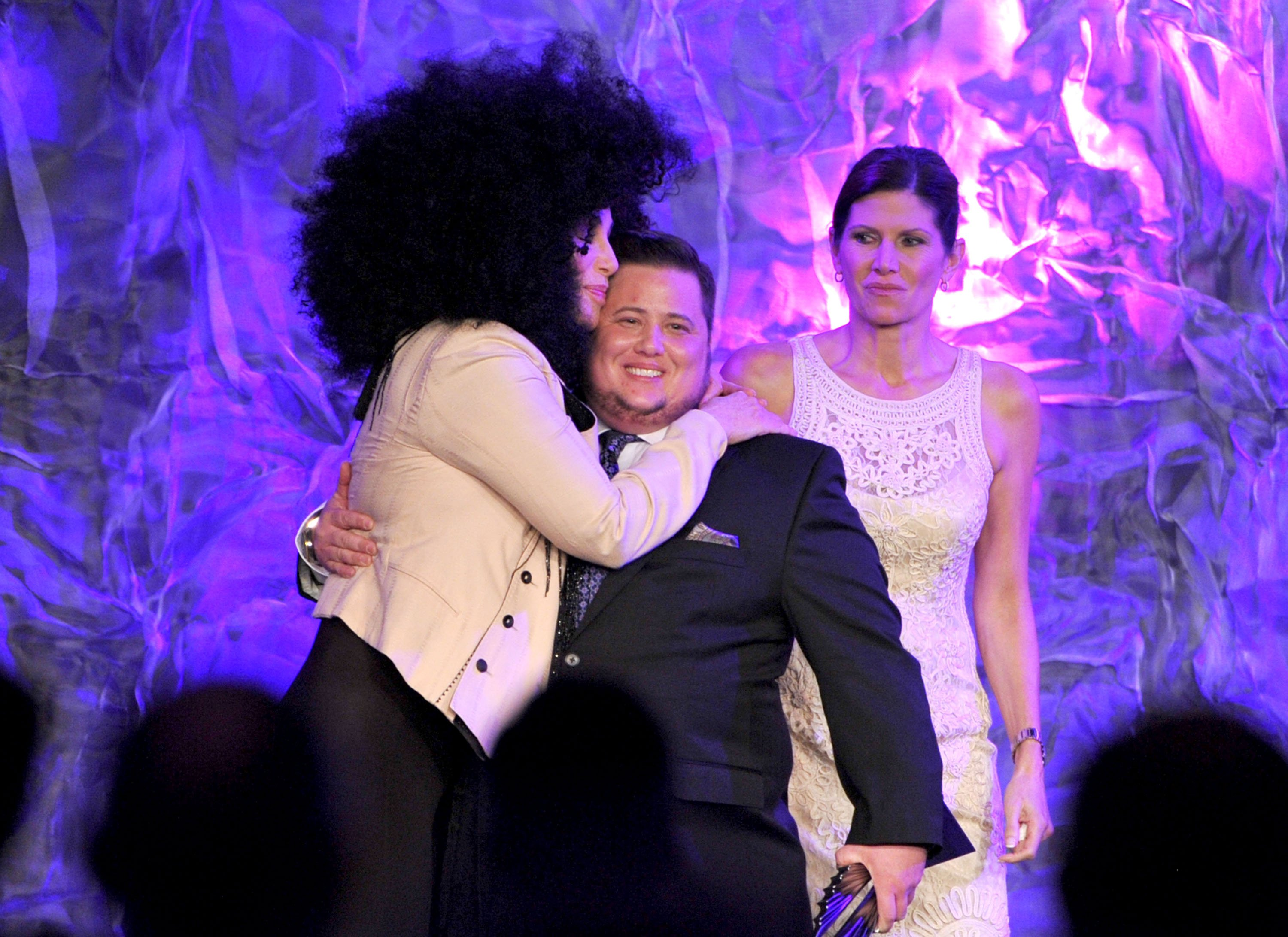 Image Source: Getty Images/ Cher and her son Chaz hugging