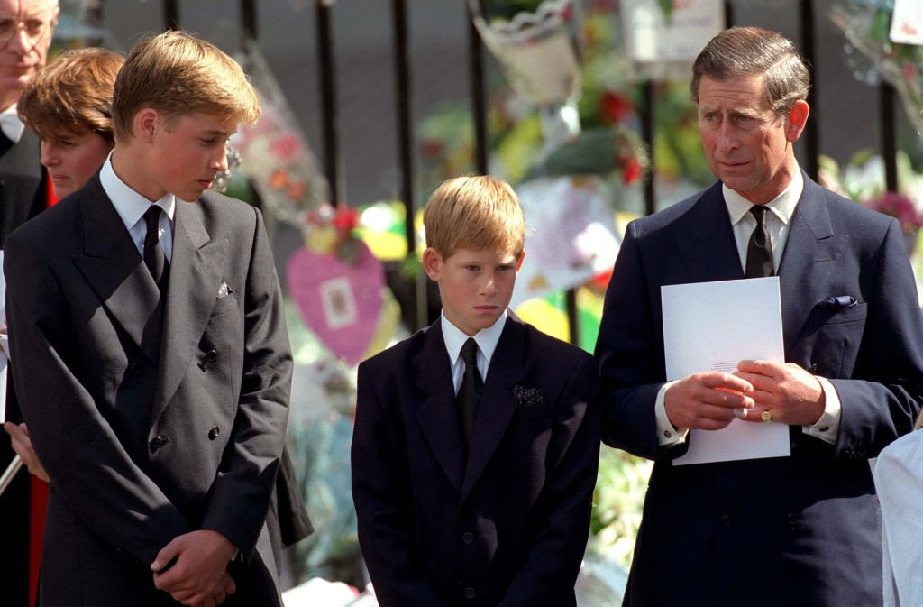 Image Credits: Getty Images | Prince William (left), Prince Harry (middle) and Prince Charles (right) At Princess Diana's Funeral