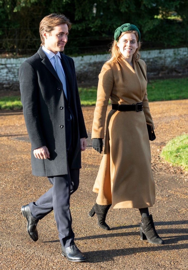 Image Source: Getty Images/Princess Beatrice (R) and Edoardo Mapelli Mozzi seen attending Evgeny Lebedev's Christmas Party
