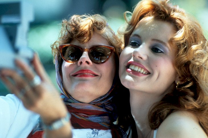 Image Credit: Getty Images / Susan Sarandon with Geena Davis on the set of Thelma and Louise.