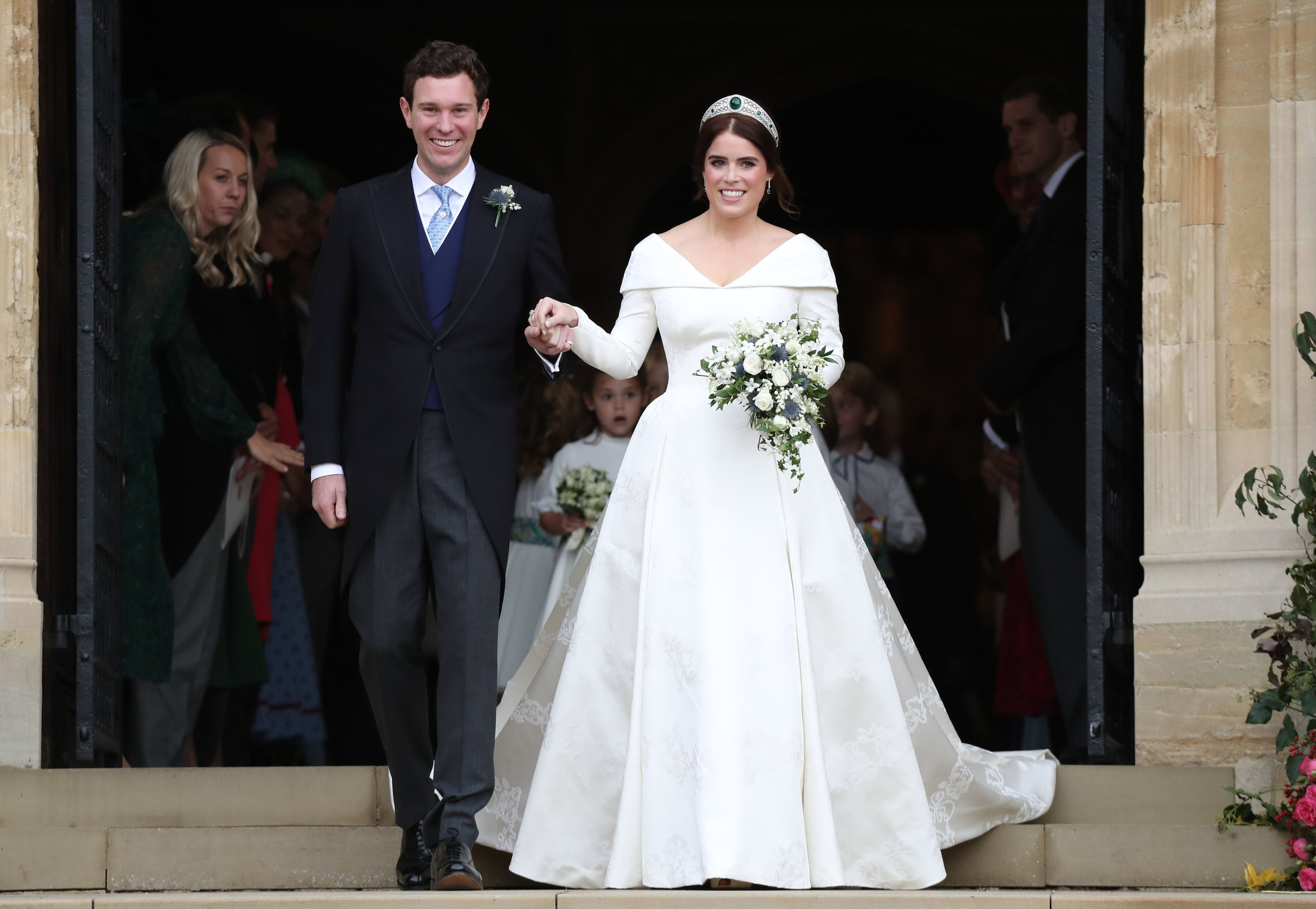 Image Source: Getty Images/WPA Pool/Princess Eugenie of York and Jack Brooksbank leave St George's Chapel in Windsor Castle following their wedding at St. George's Chapel on October 12, 2018 in Windsor, England
