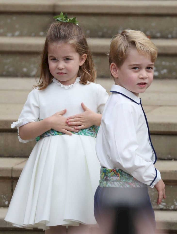 Image Credit: Getty Images / Princess Charlotte of Cambridge and Prince George of Cambridge ahead of the wedding of Princess Eugenie of York.