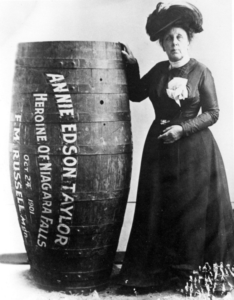 Anna Edson Taylor with her barrel. Image Source: Wikimedia Commons