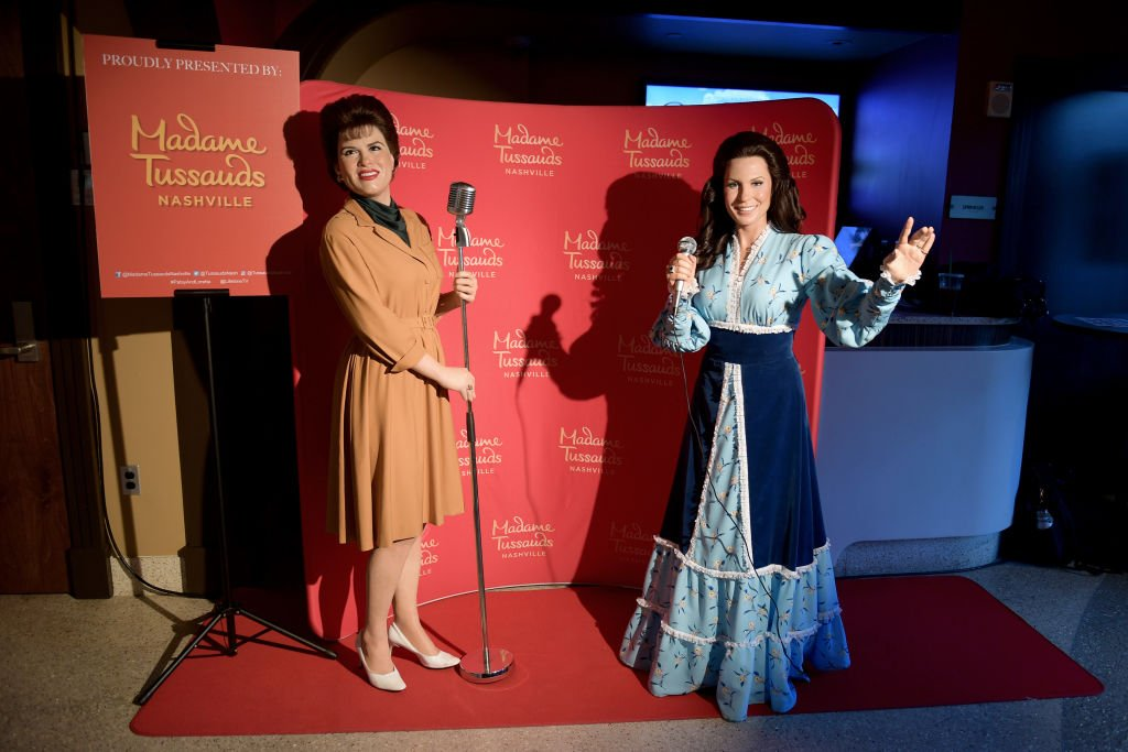 "Image Credit: Getty Images / Madame Tussauds' wax figures of Patsy Cline and Loretta Lynn are seen at the Lifetime Presents A Special Screening And Reception for ""Patsy & Loretta."""