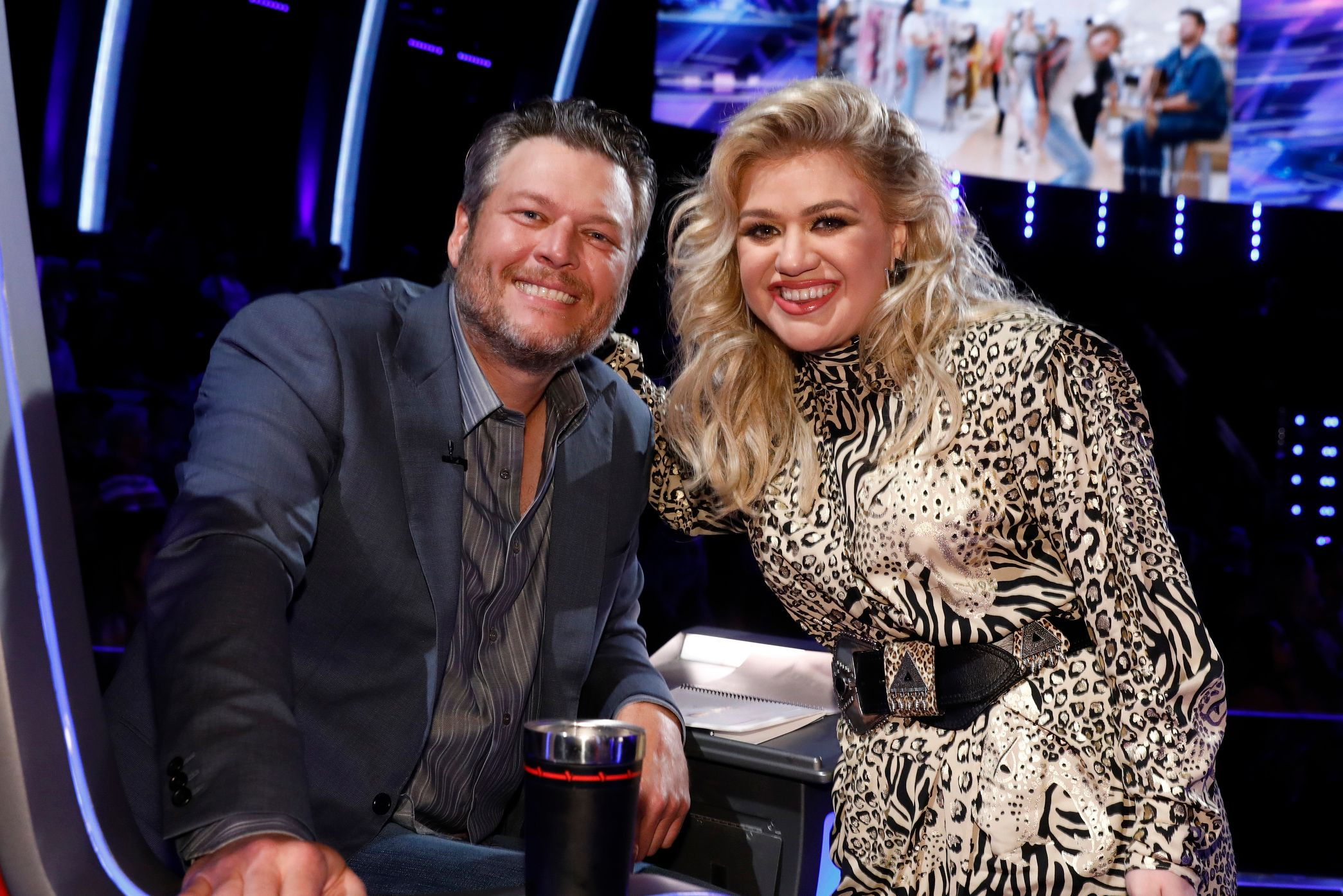 Blake Shelton and Kelly Clarkson are the fellow coaches on The Voice / Getty Images