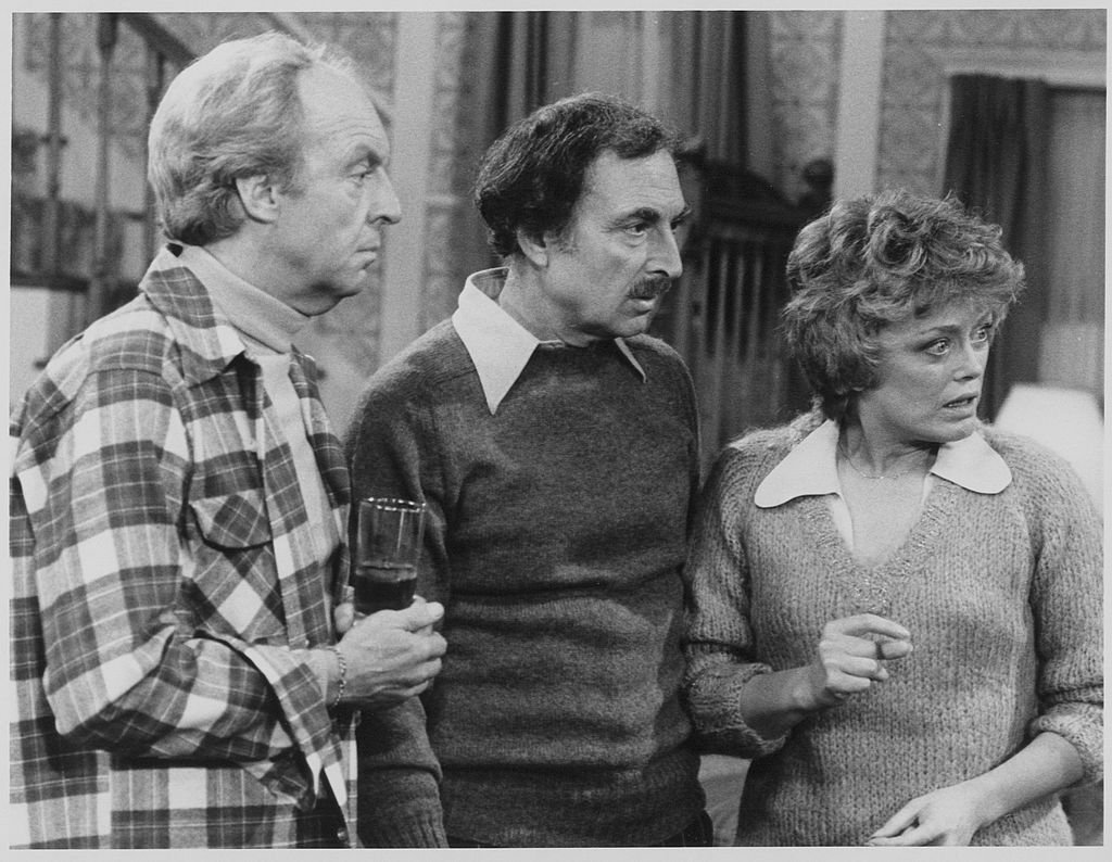 Image Credits: Getty Images / CBS Photo Archive | Canadian actor Conrad Bain (as Arthur Harmon) (left) and American actors Bill Macy (as Walter Findlay) and Rue McClanahan (as Vivian Harmon) in a scene from the television series 'Maude,' Los Angeles, California, December 16, 1977.