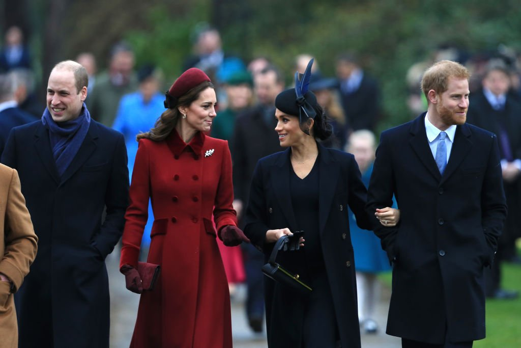 Image Credits: Getty Images / Stephen Pond   (L-R) Prince William, Duke of Cambridge, Catherine, Duchess of Cambridge, Meghan, Duchess of Sussex and Prince Harry, Duke of Sussex arrive to attend the Christmas Day Church service at the Church of St. Mary Magdalene on the Sandringham estate on December 25, 2018 in King's Lynn, England.