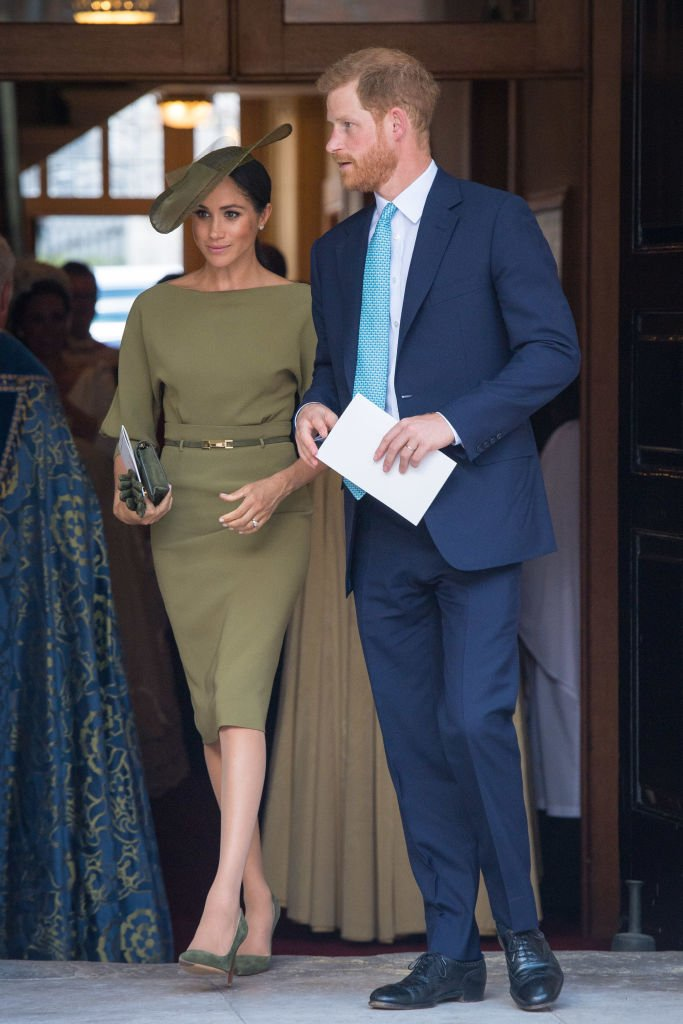 Image Credits: Getty Images / Dominic Lipinski - WPA Pool   The Duke and Duchess of Sussex depart after attending the christening of Prince Louis at the Chapel Royal, St James's Palace on July 09, 2018 in London, England.