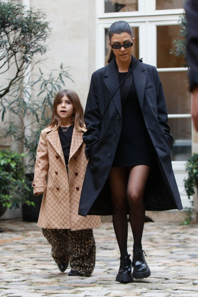 Image Credits: Getty Images / Mehdi Taamallah/NurPhoto   Kourtney Kardashian, her daughter Penelope Disick pictured at the Cafe de Flore in Paris March 02, 2020