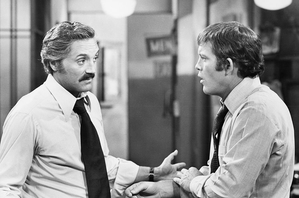 Image Credit: Getty Images / Max Gail and Hal Linden on set for Barney Miller.