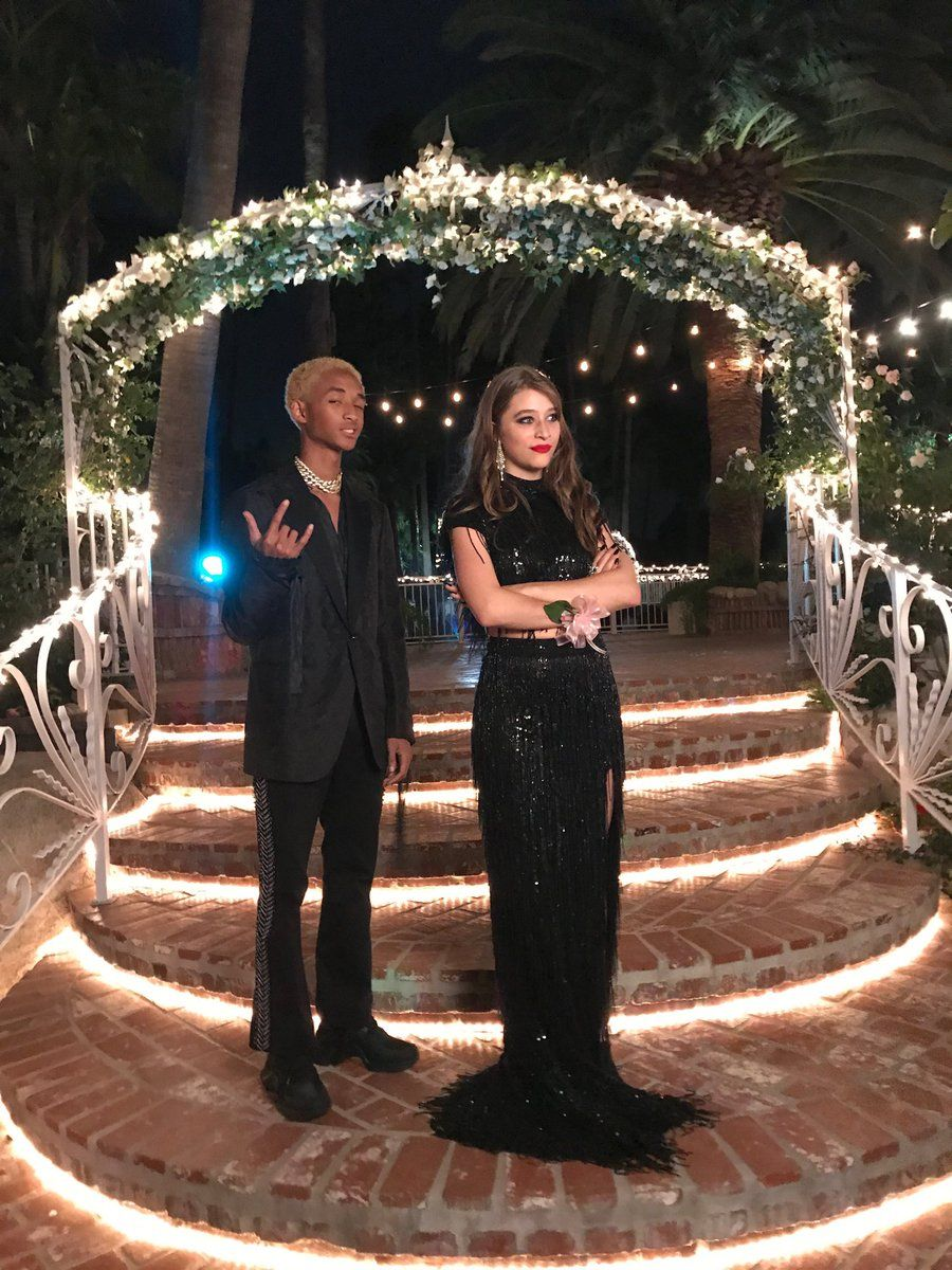 Image Source: Twitter/jaden | Jaden poses for a pic with his prom date