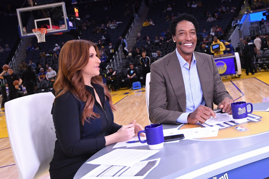Image Credits: Getty Images / Noah Graham / NBAE | NBA Analysts, Rachel Nichols and Scottie Pippen talk before the game between the Golden State Warriors and the Philadelphia 76ers on March 7, 2020 at Chase Center in San Francisco, California.