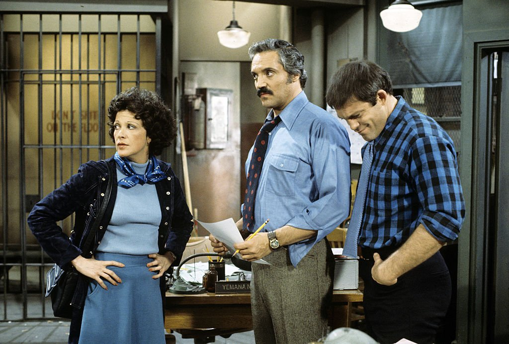 Image Credit: Getty Images / Linda Lavin (as Det. Wentworth), Barney Miller (as Capt. Barney Miller) and Max Gail (as Det. Wojciehowicz) on set for Barney Miller.