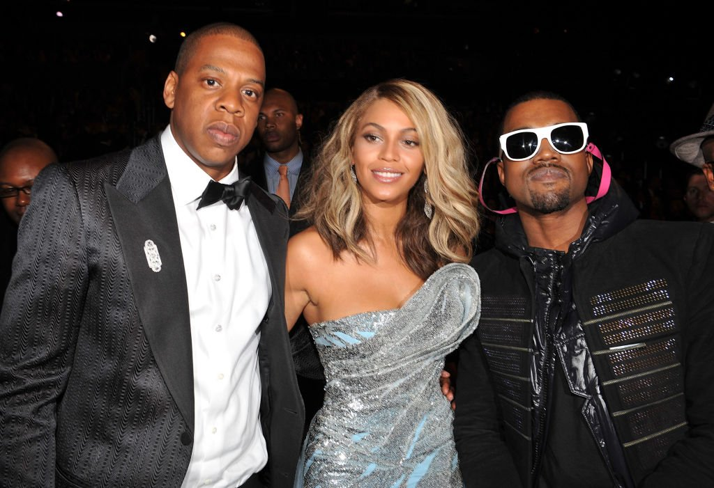 Image Credit: Getty Images / Jay-Z, singer Beyonce and rapper Kanye West at the 50th Annual GRAMMY Awards at the Staples Center on February 10, 2008.