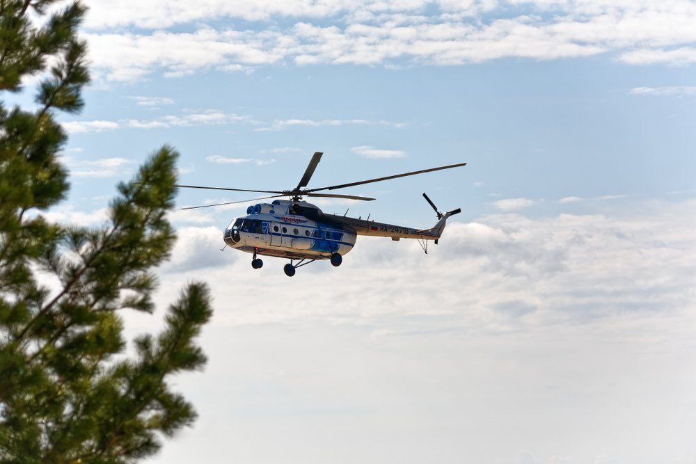 Police helicopter flying away | Shutterstock