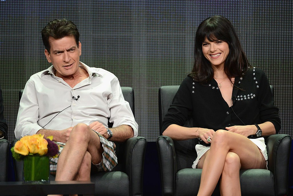 "Image Credit: Getty Images / Actors Charlie Sheen and Selma Blair at the ""Anger Management"" panel during the FX portion of the 2012 Summer TCA Tour on July 28, 2012 in Beverly Hills, California."