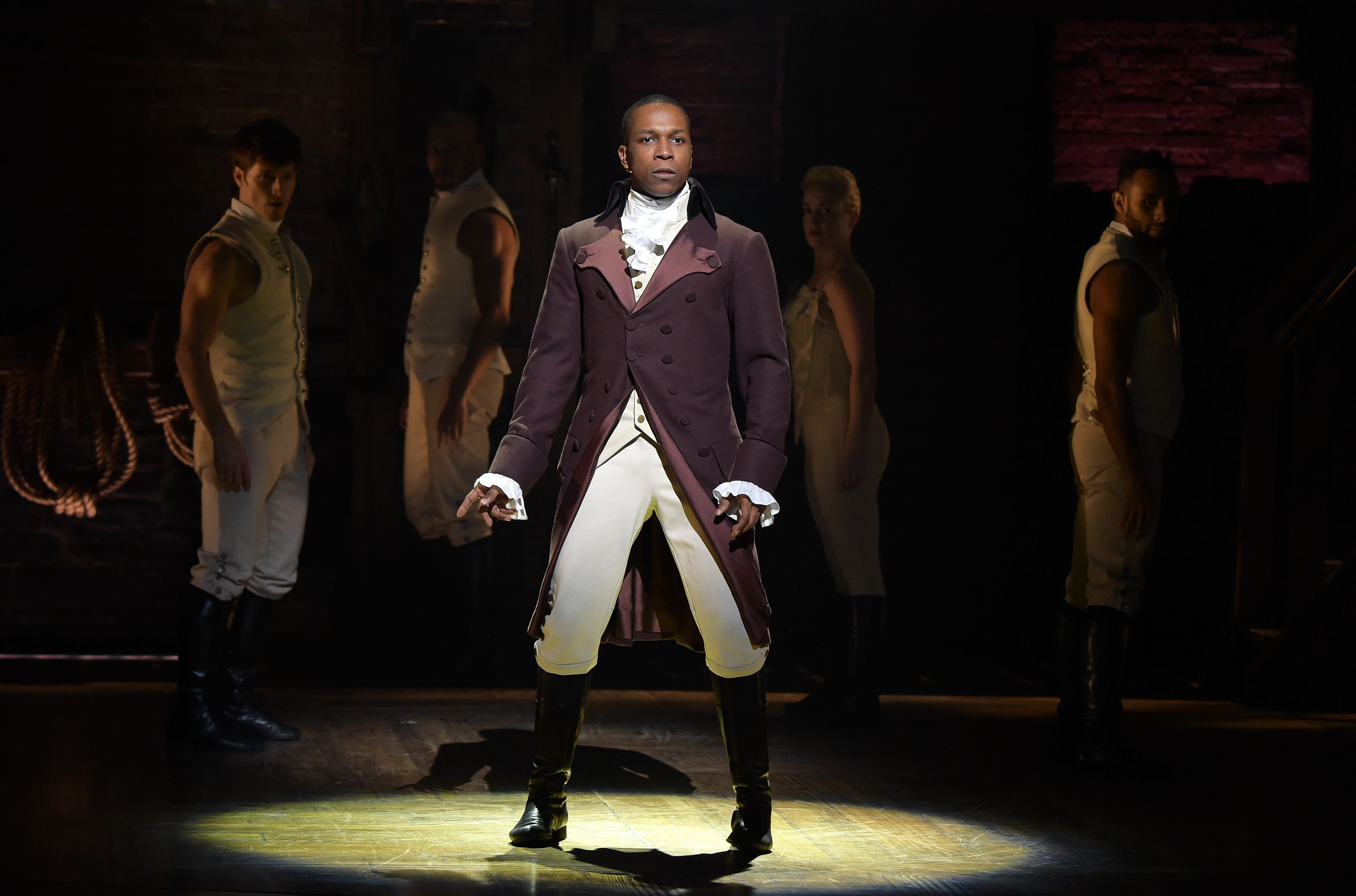 """Actor Leslie Odom, Jr. performs on stage during """"Hamilton"""" GRAMMY performance / Getty Images"""