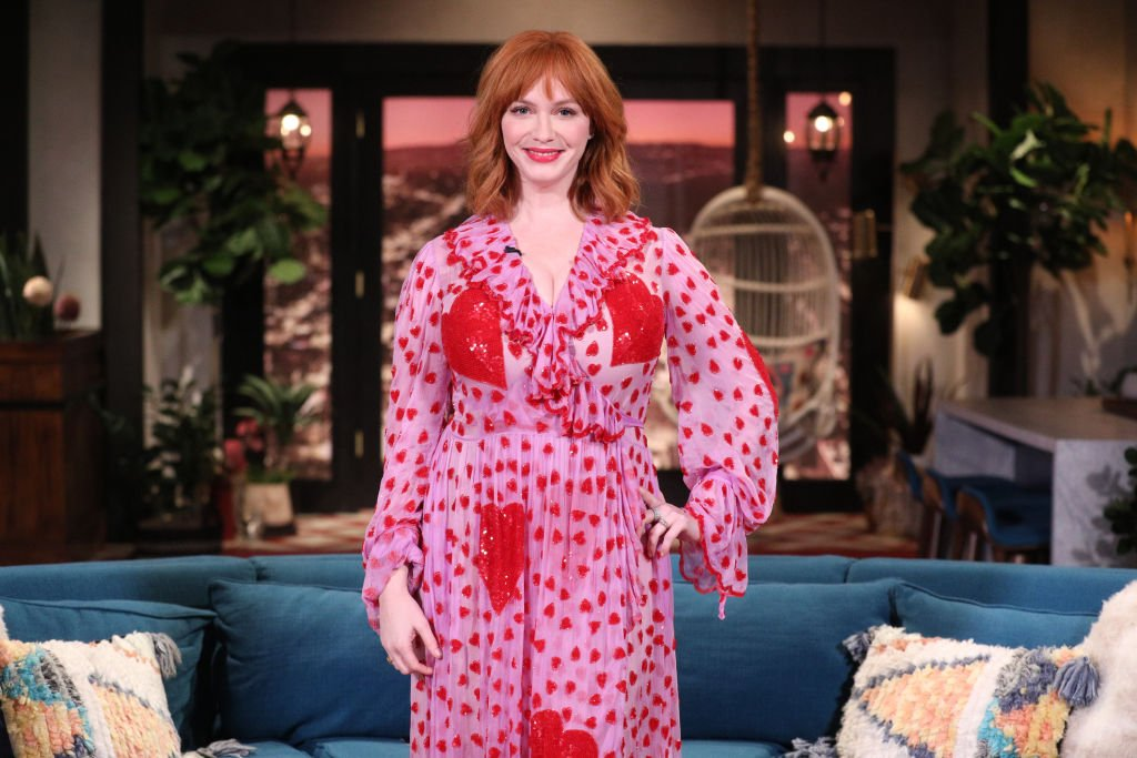 Image Credit: Getty Images / Guest star Christina Hendricks on the set of Busy Tonight.