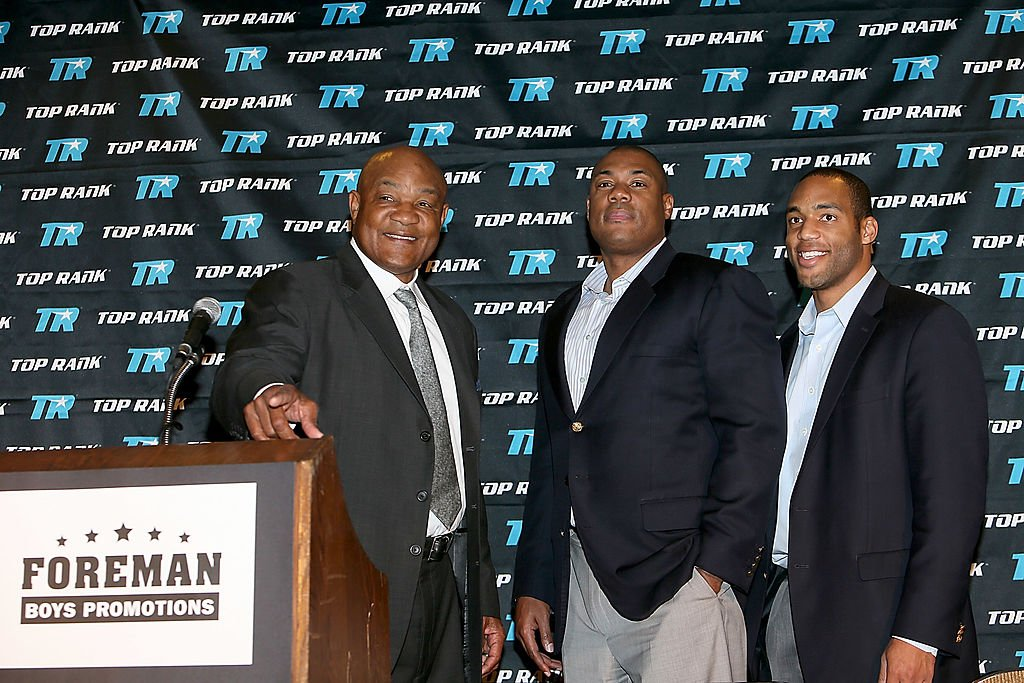 Image Source: Getty Images/Gary Miller/George Foreman, George Foreman Jr. and George Foreman IV attend a news conference announcing the formation of Foreman Boys Promotions which will be run by his sons at The Frank Erwin Center on March 19, 2013 in Austin, Texas