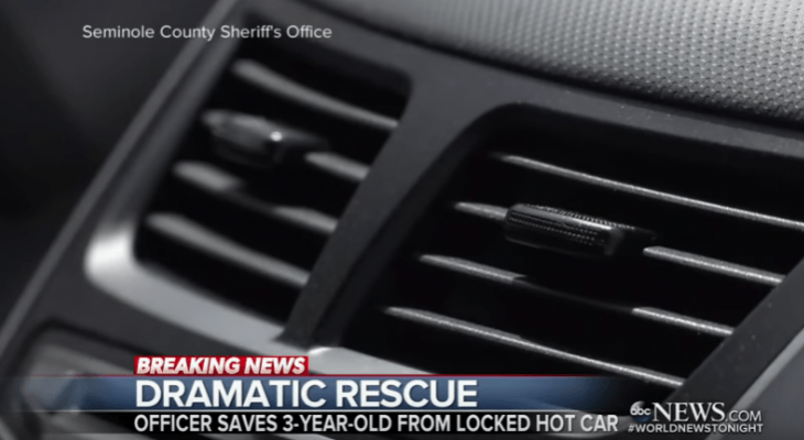 Deputy caught on camera saving toddler who was left in a hot car