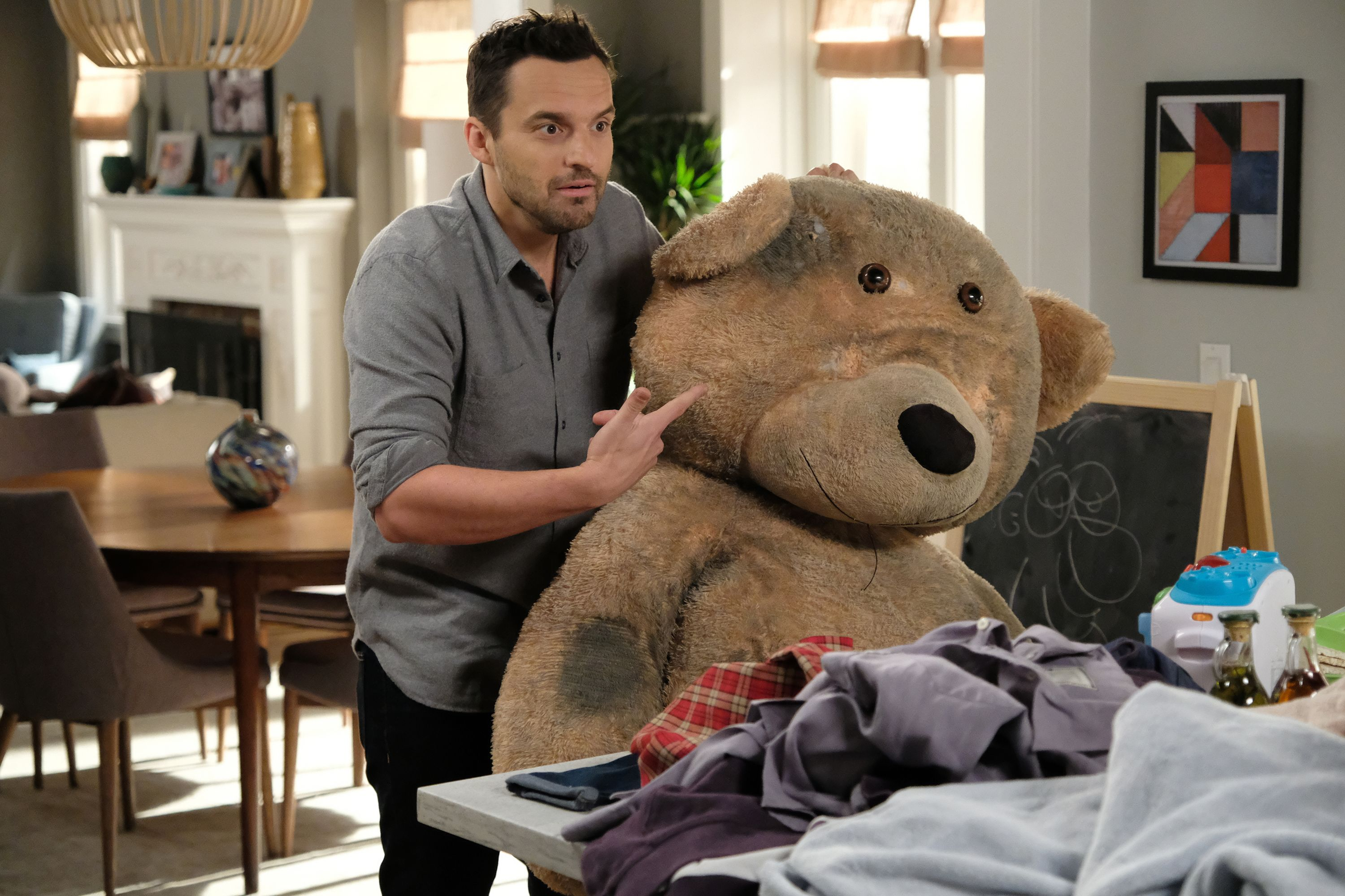 Jake Johnson's character is known for his obssession with Chicago Bears / Getty Images