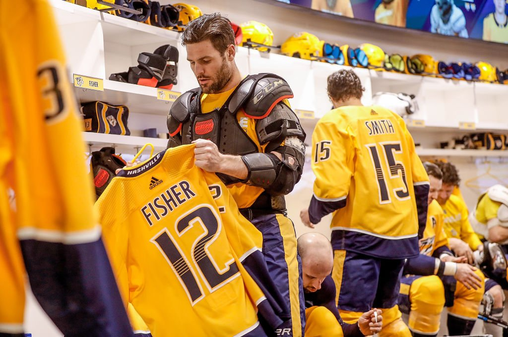 Image Credit: Getty Images / Mike Fisher #12 of the Nashville Predators skates against the Buffalo Sabres in his 1100th career NHL game on March 31, 2018 at Bridgestone Arena in Nashville.