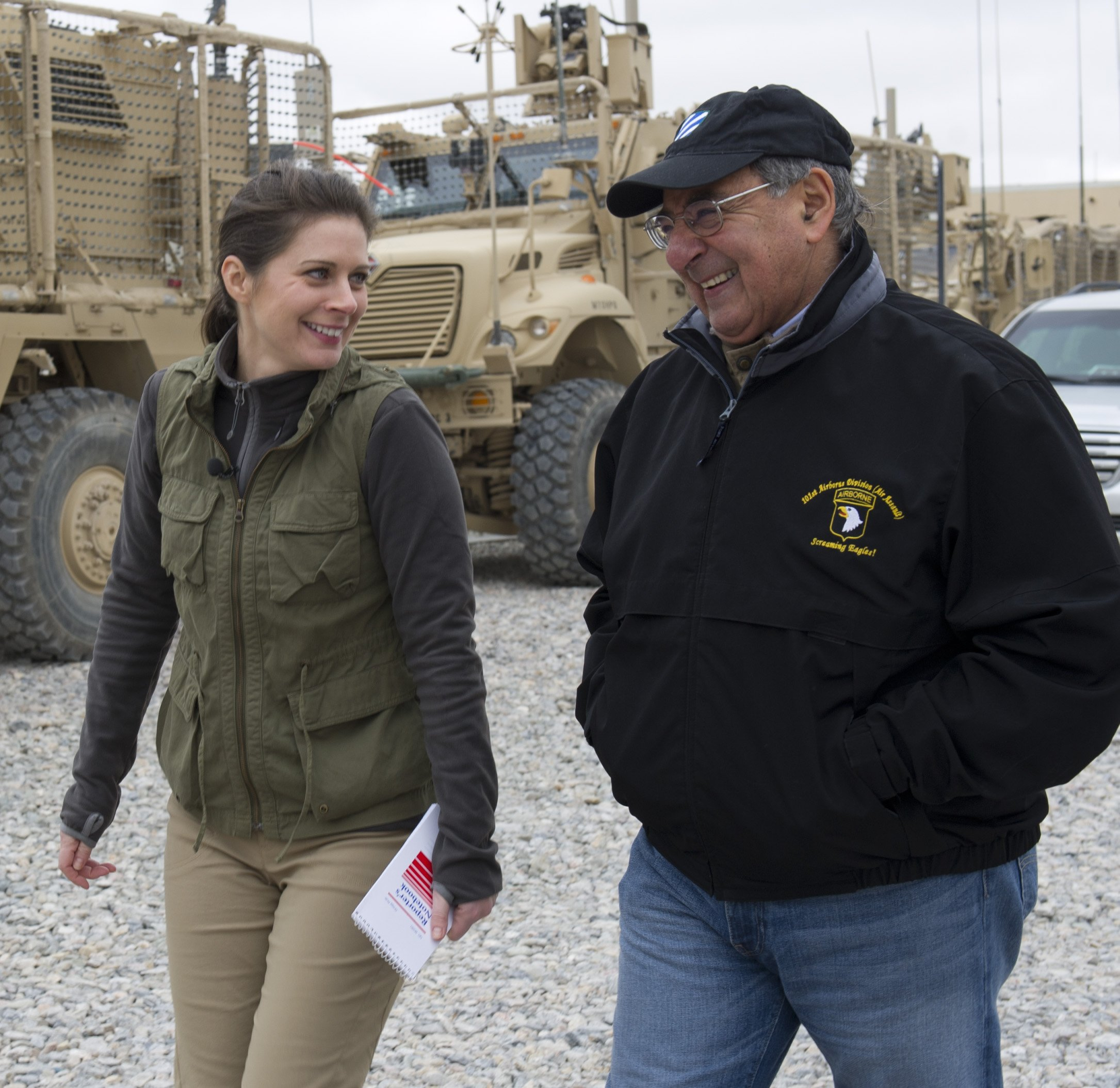 Erin Burnet Interviewing Leon Panetta in Afganistan Image Source: Wikimedia Commons.