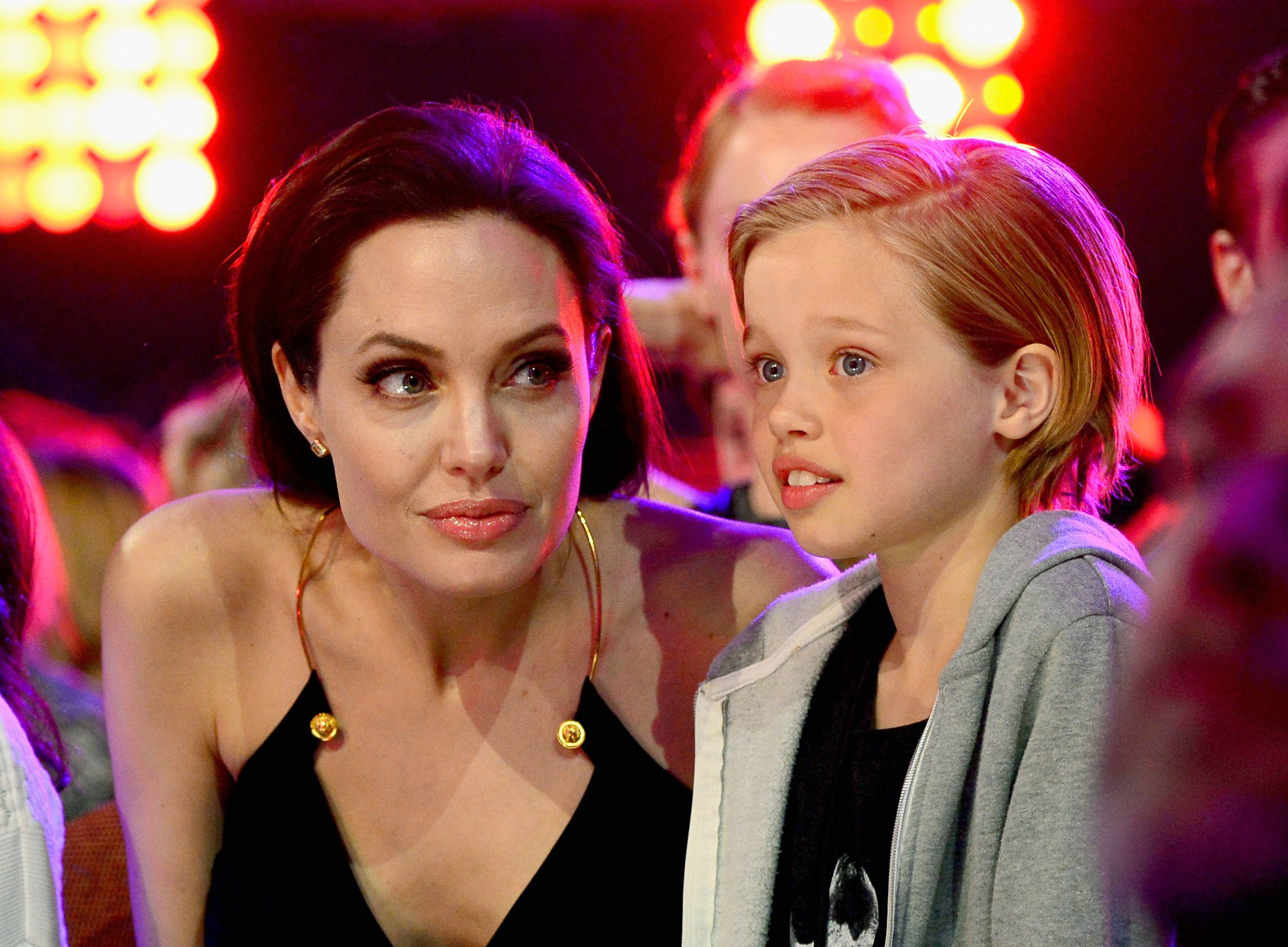Image Credit: Getty Images/Frazer Harrison/KCA2015 | Angelina and Shiloh at the Kids Choice Awards