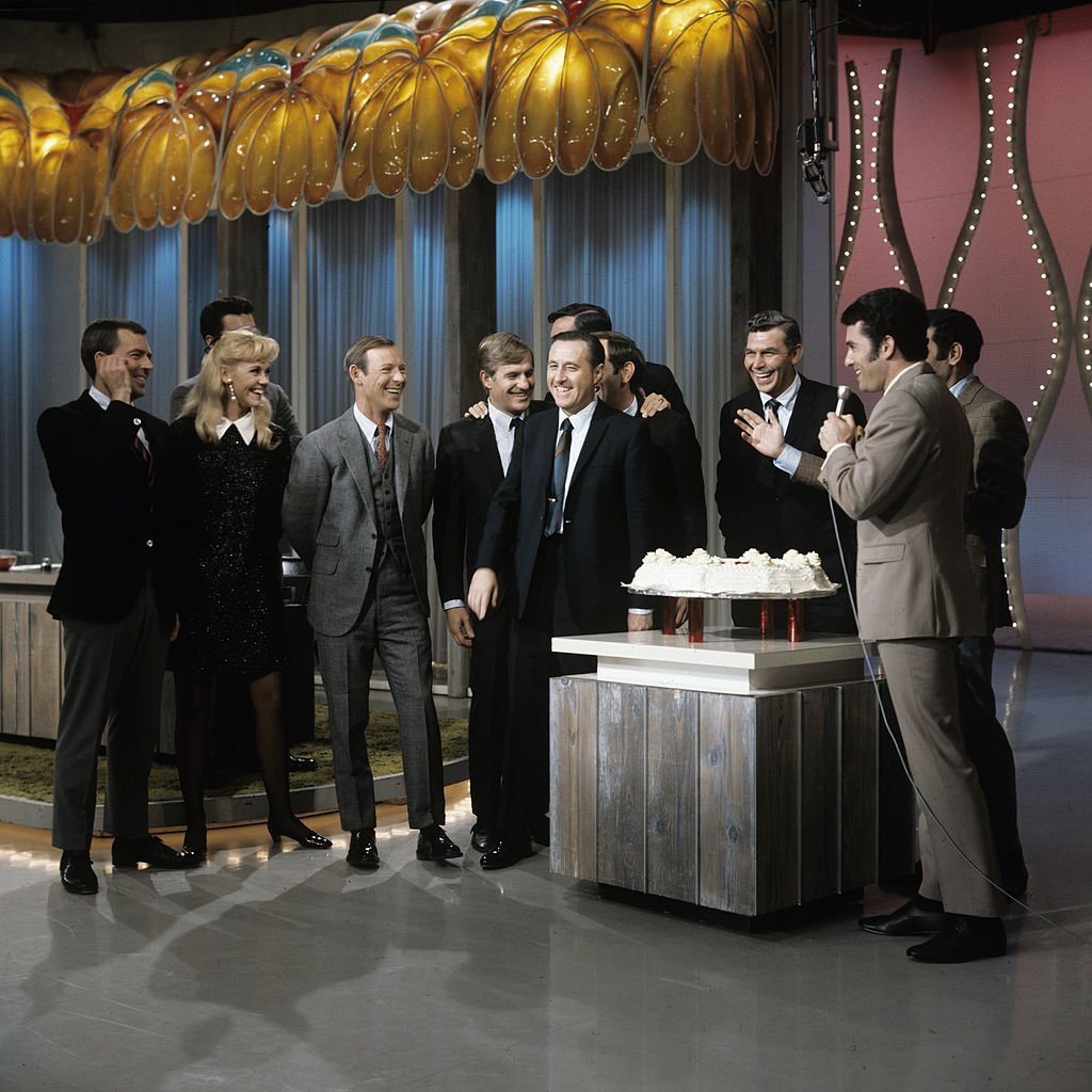 Image Source: Getty Images/ABC Photo Archives| THE JOEY BISHOP SHOW - (1968) Ken Berry, Maggie Peterson, Larry Hovis, Jerry Van Dyke, Richard O. Linke, Ronnie Schell, Jim Nabors, Andy Griffith, Joey Bishop, D'Aldo Ramano