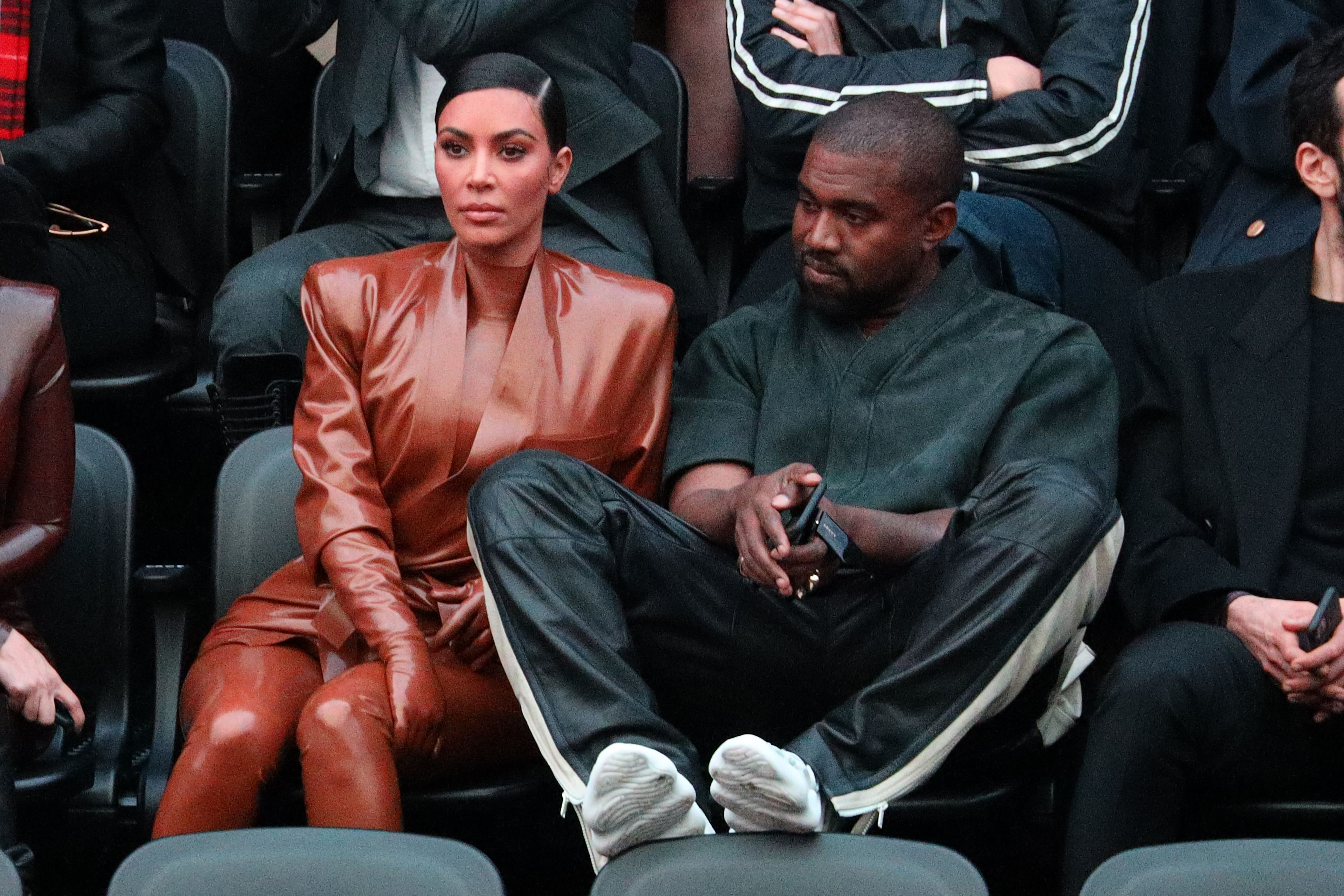 Kim Kardashian and Kanye West attend the Balenciaga show on March 01, 2020 / Getty Images