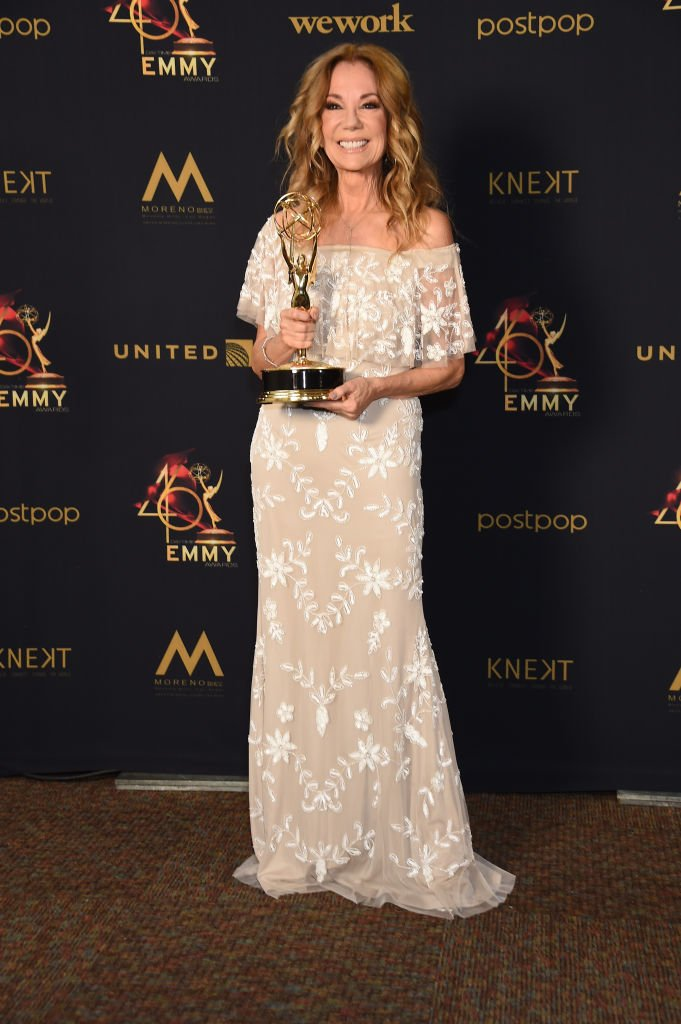 Image Credits: Getty Images / Gregg DeGuire | Kathie Lee Gifford poses with the Daytime Emmy Award for Outstanding Informative Talk Show Host in the press room during the 46th annual Daytime Emmy Awards at Pasadena Civic Center on May 05, 2019 in Pasadena, California.