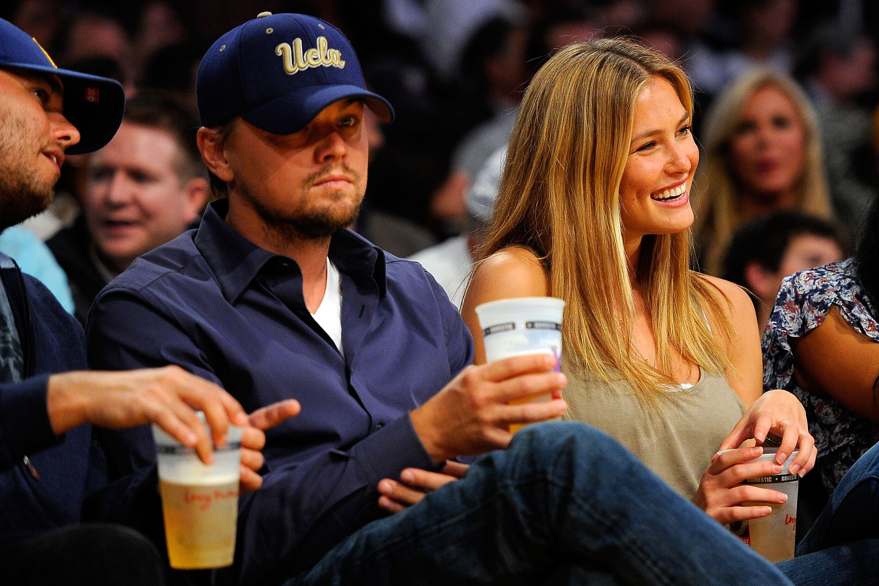 Image Source: Getty Images/Andrew D. Bernstein| Actor Leonardo DiCaprio and Supermodel Bar Refaeli attend a game between the Orlando Magic and the Los Angeles Lakers at Staples Center on January 18, 2010 in Los Angeles, California