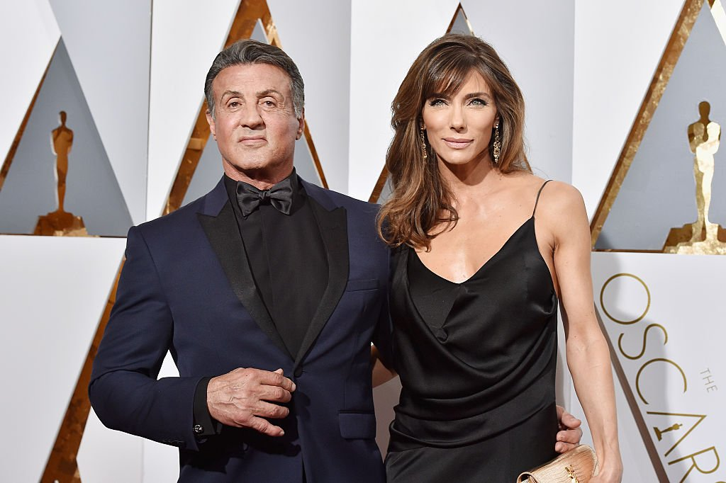 Image Source: Getty Images/Kevork Djansezian | Stallone and third wife, Flavin at the 88th Annual Academy Awards