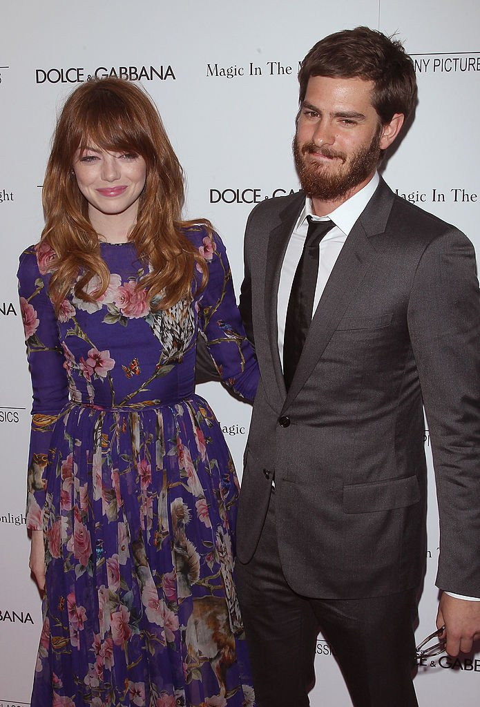 "Image Source: Getty Images/Jim Spellman/Actors Emma Stone and Andrew Garfield attend ""Magic In The Moonlight"" premiere at Paris Theater on July 17, 2014 in New York City"
