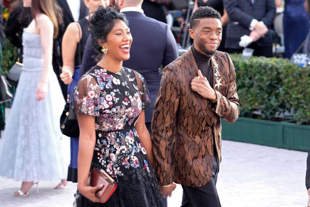 Taylor Simone Ledward and Chadwick Boseman attend the 25th annual Screen Actors Guild Awards at The Shrine Auditorium on January 27, 2019 in Los Angeles, California. (Photo by Sarah Morris/Getty Images)